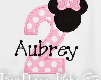 Minnie Birthday Shirt, Minnie Mouse Party Shirt or Bodysuit, Minnie Shirt, Girl Birthday Shirt or Bodysuit, Ages 1-9, First Birthday, Second