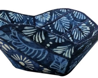 Decorative Bowl in Indigo Batik Fabrics