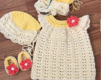 Lil miss sunshine- bonnet, dress, and shoes