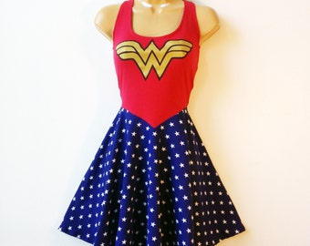 Wonder Woman Dress Comic Con Cosplay Costume Halloween Dress Fit and Flare Rockabilly Pin Up MADE TO ORDER