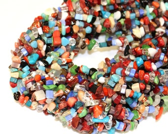 Mulit Stone and Glass Standard Sized Chips, 36 inch Strand Semi Precious Stones For Jewellery Making and Necklaces Bracelets
