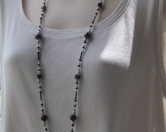 Black and Silver ID Badge Holder Beaded Lanyard Necklace Black Onyx Jasper Silver