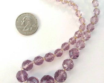 Vintage purple faceted glass bead necklace