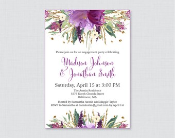 Purple Floral Engagement Party Invitation Printable or Printed - Watercolor Purple and Gold Flower Engagement Party - Garden Invite 0008