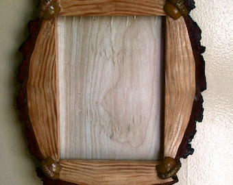 Slab Log Rustic Picture frame with Acorn Accents