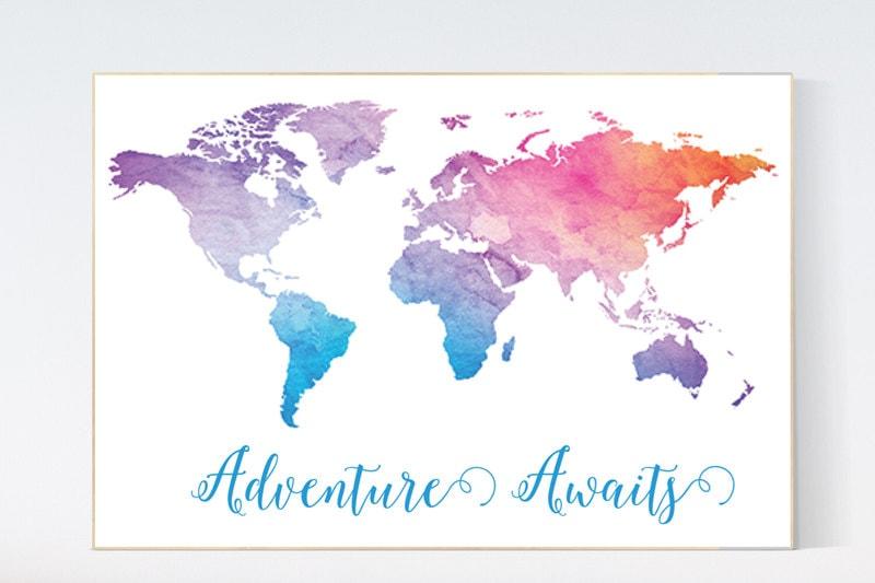 Adventure awaits print World Map Print nursery wall art