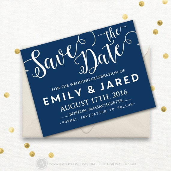 Printable Save The Date Card Template Navy Dark Blue