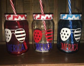 "America.... or ""Merica""  Red white & blue Mini mason jars"