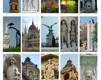 Budapest, Digital Collage Sheet, Domino, Old World Budapest Sculpture and Architecture