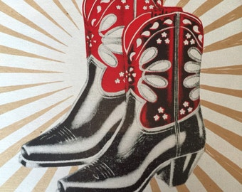 Vintage COWBOY BOOTS POSTER Letterpress poster PeeWees Cowgirl boots gift Western wear Acme boots Rustic western wall decor Boot art