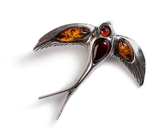 Henryka Cognac and Cherry Amber and Silver Swooping Swallow Necklace