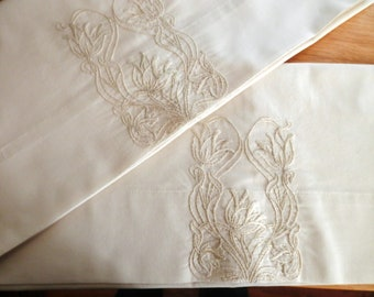 Off-White, Ecru, Monochromatic Handmade Pillowcases, with Embroidered Art Décor Designed Tulips, Neutral
