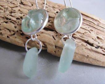 Sea Glass Circles - Aqua Sea Glass Earrings - Seafoam Sea Glass - Dangle Earrings - Genuine Pure Sea Glass - Ocean Jewelry Gifts of the Sea