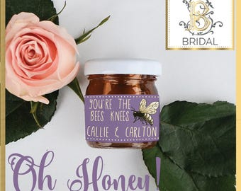 30 Personalized Honey Jar Favors, Custom Honey Jars, Wedding Favors, Party Favors, Bridal Shower, Edible Wedding Favors, Baby Shower