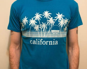 Vintage California T-Shirt / Retro Blue West Coast T Shirt