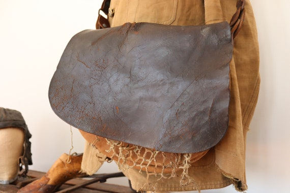 Vintage 1940s 40s 1950s 50s french brown leather canvas shoulder hunting bag mens womens game net fishing hand stitched