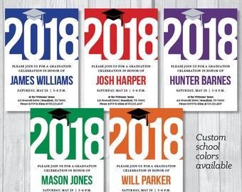 Class of 2018 Graduation Party 5x7 Custom Personalized Printable Invitations - Custom School Colors - College or High School Graduation
