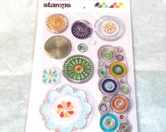 BasicGrey Whirlie Whirls Stamps Medallion Circles Clear Stamp Set Unmounted Stamps Medallions Circle Stamps Bubble Stamps Flower Stamps