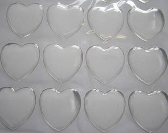 2 heart resin cabochons 25mm sticker: CAB 0088