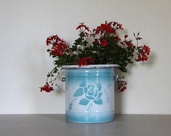 LARGE French Enamel Pot Duck Egg Blue Floral Design Enamelware 1930s