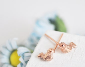 tiny bird  earring-gold plated-FREE SHIPPING
