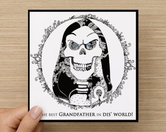 Personalised Terry Pratchett's Discworld DEATH Greetings Card