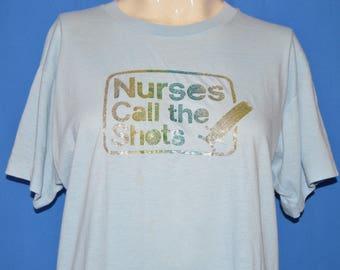 80s Nurses Call The Shots Glitter Iron On t-shirt Large
