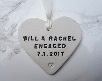 Personalised Engagement Gift, Engagement Ornament, Engagement Present, Personalized Engagement Gift, Gift For the Couple, Old Flour House