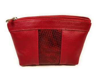 Burgundy Collection leather make up/cosmetic bag, large
