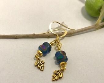 Oak Leaf Earrings, Blue Czech Glass Earrings, Gold Leaf Earrings, Blue Bead Earrings, Gold Oak Dangles , Leaf Dangle Earrings, Blue Dangle