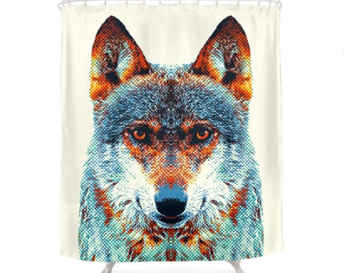 Wolf Shower Curtain - Colorful Animals