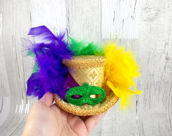 Mardi Gras Gold, Purple, Yellow and Green Mask Hat Ver 2 - Small Mini Top Hat Fascinator, Alice in Wonderland, Mad Hatter Tea Party, Derby