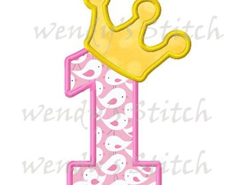 Princess crown 1 applique machine embroidery design digital pattern instant download