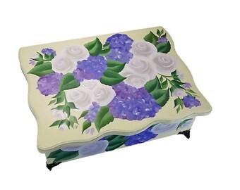 Custom Hydrangeas and Roses Floral Wedding Box - Custom Wedding Box Personalized Keepsake Box Wedding Keepsake Box Wedding Shower Box