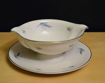Vintage Syracuse China Gravy Boat with Attached Underplate, Celeste Pattern, Blue Leaves Silver Rim, Made in America