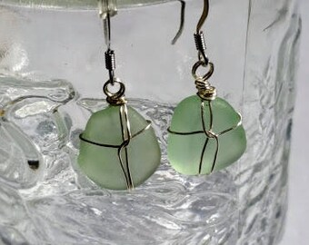 Beach Glass / Sea Glass Earrings, Silver Plate Wire Wrapped, Stainless Hypoallergenic Ear Wires