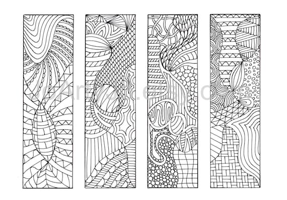 zentangle inspired bookmarks download print and color 12