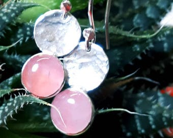 Silver drop earrings, Rose Quartz, drop earrings