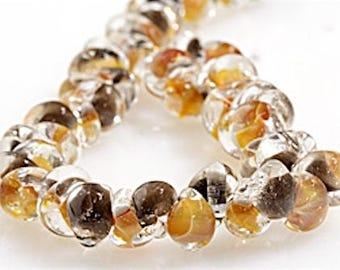 25 pieces 13mm Lampwork Glass Brown Teardrop Beads