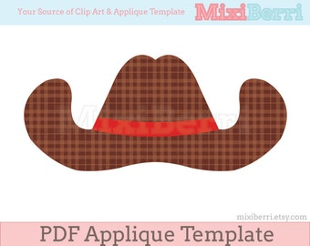 Cowboy Hat Applique Template PDF Instant Download