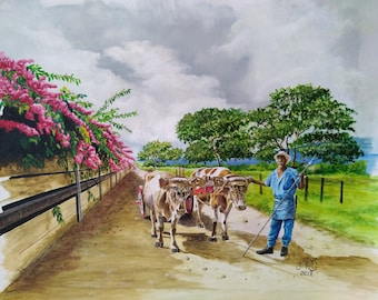 Oil Painting cart with oxen, oxherd.