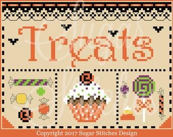 Halloween Treats Cross Stitch Pattern PAPER VERSION