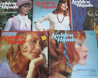 Golden Hands Vintage Magazine Lot, Parts 32 34 35 36 38, Patterns Sewing Knitting Crochet Embroidery Dressmaking Fashion, Marshall Cavendish