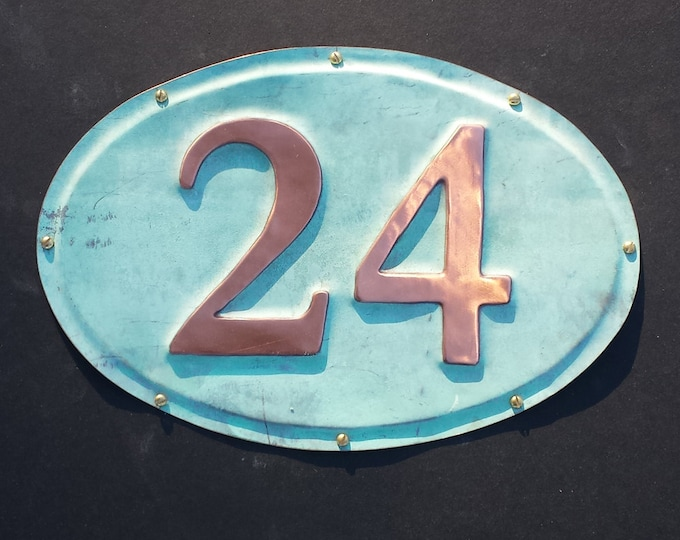 "Oval House plaque  in patinated copper, 3""/75mm high numbers, Garamond font polished and laquered g"