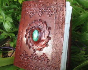 Leather Notebook - Mini Leather Journal - Turquoise Stone Leather Journal - Rustic Blank Book - Medieval Leather Journal - Handmade Journal