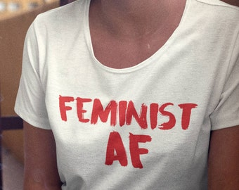Feminism T Shirt, Feminist AF Top Strong Woman loose fit shirts deep scoop neck shirt, Nasty, Feminism the future is female Agenda Shirt