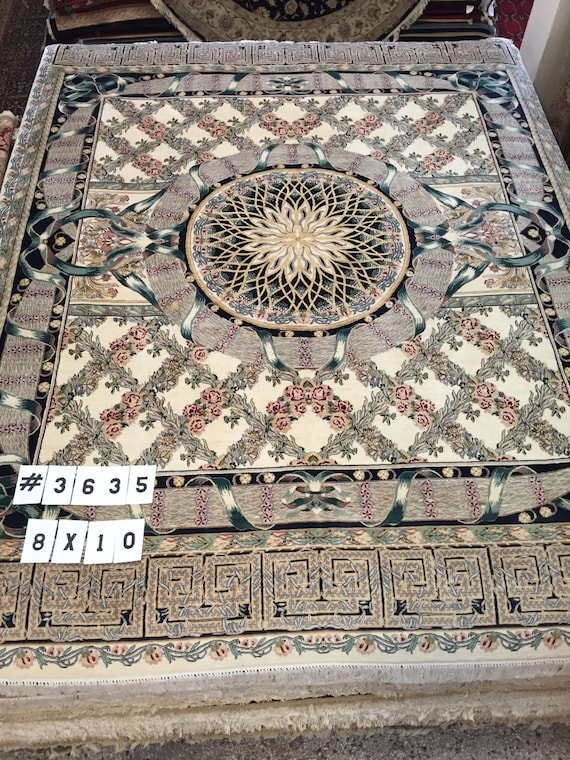 8' x 10' Pakistani Persian Star Design Oriental Rug - Hand Made - 100% Wool