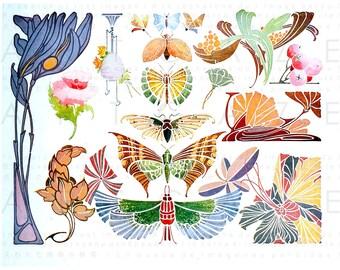 Art NOUVEAU BUTTERFLIES French Antique Illustration. Butterfly Print Digital Download. Butterflies Printable Clip Art.
