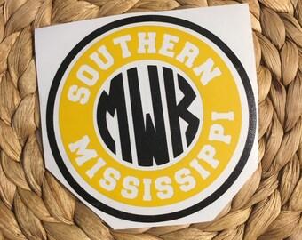 Southern Mississippi Monogrammed Vinyl Decal