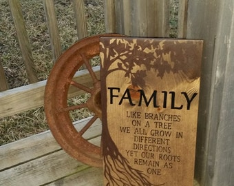 Wooden Family Sign - Family Roots Sign - Stained Rustic Sign - Family Wall Decor - Tree Sign - Like Branches On A Tree Roots Remain As One